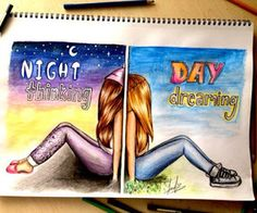 Night Thinking Day Dreaming colorful art artistic drawing day night – My CMS Best Friend Drawings, Bff Drawings, Amazing Drawings, Beautiful Drawings, Art Drawings Sketches, Easy Drawings, Pencil Drawings, Amazing Art, Cute Love Drawings