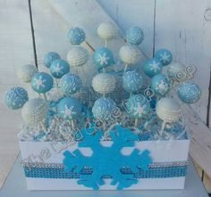 Winter Wonderland Cake Pops -1 dz. - Snowflake Cake Pop - Christmas - Shower - Birthday- Edible Favor - MaD Cake Pop Shop - Cake Pop Stand