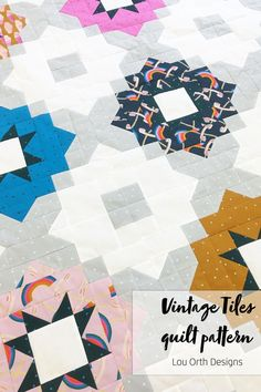 Modern yet timeless block quilt patternby Lou Orth Designs Quilting Tutorials, Sewing Tutorials, Pdf Patterns, Quilt Patterns, Fat Quarter Quilt, Block Quilt, Vintage Tile, Love Sewing, Pattern Making
