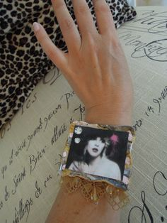 Stevie Nicks CUff Bracelet, with gold lace and crystals. ANY other photo of Stevie, or other icon, or art can be turned into a cuff.  Order at http://www.dreamalittledesigns.etsy.com
