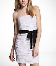 RUCHED STRAPLESS EYELET DRESS