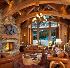 I just might take up skiing, if I could stay in a rustic, glorious, luxury home cabin like this!!  ;)