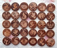 Pyrography - wood burned Jewellery selection by Gill Rippingale