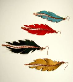 Sustainable jewelry - Flying feather earrings. Available at www.roccocokent.com  www.facebook.com/roccocokent
