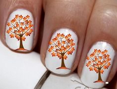 20 pc Autumn Colors Fall Orange And Yellow Autumn Leaves Tree Harest Time Nail Art Nail Decals #cg221na