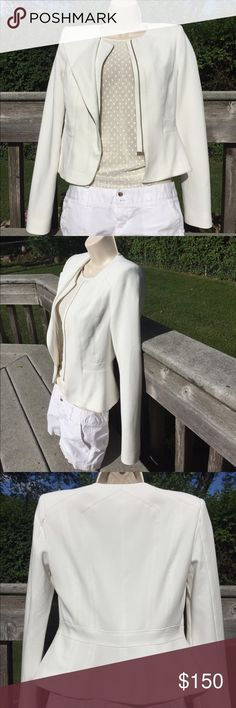 """BCBGMAXAZRIA Edward Peplum Jacket Off white in brand new condition. Retails for $248 and no longer available . Mix of rayon nylon and spandex  structured shoulders and peplum at waist   Zipper front closure  contrast inset panels flap detail at front  measures approximately 19.5"""" from shoulder to hem  classic fit   This is about a size 2 bust is 34 BCBGMaxAzria Jackets & Coats"""
