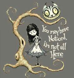 Alice in Wonderland picture by Tim Burton (due to fibro fog or depression)