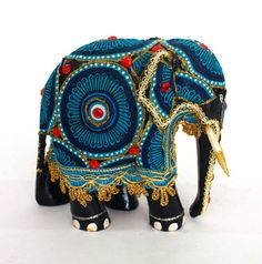 Elephant Figurine  Hand wood covered with with textile by ICMCM