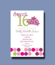 sweet sixteen invite