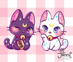 Cutest art of sparkling kittens from Jennillustrations Anime Chibi, Kawaii Anime, Chat Kawaii, Gato Anime, Chibi Cat, Kawaii Cat, Kawaii Chibi, Cute Chibi, Chibi Eyes