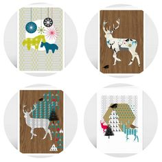 Graphic Christmas cards from @BonjourPony