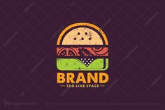 Logo for sale: Retro Burger Logo by logoswim, uploaded on Beautiful and colorful logo of a burger in retro style for food and restaurant related businesses. Fast Food Restaurant, Logo Restaurant, Restaurant Design, Food Logo Design, Logo Food, Create Logo, Fast Food Logos, Logo Simple, Fast Food Places