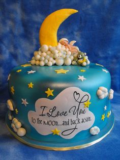 Love you to the moon and back baby shower cake