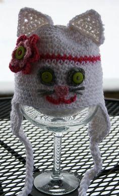 Newborn or Baby Crochet White Kitty Hat
