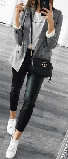 #spring #outfits gray coat, white shirt, black leggings, and pair of white sneakers outfit. Pic by @high_5_to_fashion