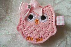 Boutique Embroidered Felt  Pink Owl Hair Clippie by pachwilliamson, $3.00