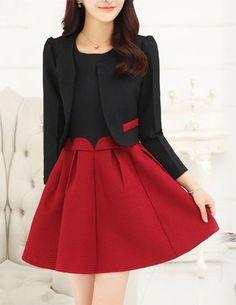 Set đầm xòe đen phối đỏ kèm áo khoác - A8924 Màu sắc: Phối nhiều màu  Chất liệu: Thun Rubi, co giãn nhẹ Xuất xứ: Việt Nam Kích thước: M/L