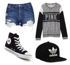"""Untitled #5"" by pizza10 on Polyvore featuring Topshop, Victoria's Secret, Converse and adidas Originals"