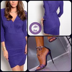 Classic Purple Dress-Winter Sale ❄️ This classic style style dress features unique faux wrap skirt. Great for office or evening out. 95% Polyester 5% Spandex (This closet does not trade or use PayPal) please ask for separate listing, thank you! Roly Poly Dresses