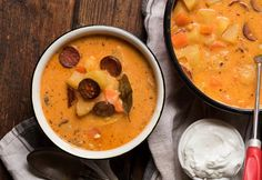 Kolbászos krumplileves Soup Recipes, Cooking Recipes, Cheeseburger Chowder, Thai Red Curry, Mint, Food And Drink, Ethnic Recipes, Foods, Food Food