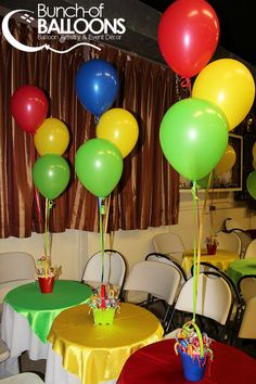 Balloon Centerpieces tied to small plant pots or other 'vessel' which is then filled with candy Super Why Party, Super Why Birthday, 1st Boy Birthday, Boy Birthday Parties, Birthday Ideas, Balloon Centerpieces, Baby Shower Centerpieces, Balloon Decorations, Birthday Decorations