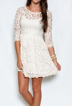 Lace Leaf Overlay 3/4 Sleeve Dress