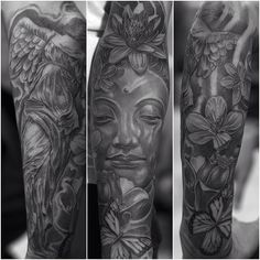 Asian butterfly themed tattoo by Jose Lopez!