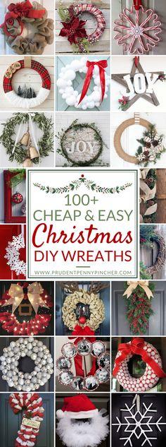 100 Cheap and Easy DIY Christmas Wreaths - christmas dekoration Simple Christmas, Christmas Holidays, Christmas Gifts, Christmas Ornaments, Christmas Cactus, Christmas Vacation, Christmas Abbott, Christmas Porch, Modern Christmas