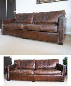 £1375 221cm   St James Distressed Vintage Leather Sofa 3 Seater
