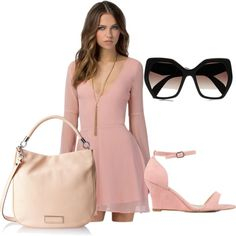 pink chiffon by bluelavendel on Polyvore featuring Nly Shoes, MARC BY MARC JACOBS and Prada