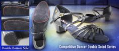 VF-CD1124DB-L100-15 Black Leather Competitive Dancer Sandle Double Soled Series