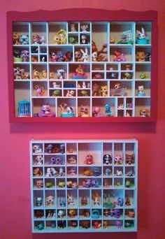 Littlest Pet Shop Display. My daughter has hundreds of these so I picked up a couple of miniature display boxes at a second hand store, painted them and now she can change out the display as she wants!  Great way to showcase a collection of small toys!