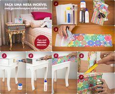 Veja como renovar uma mesa de canto ou criado mudo usando guardanapos de papel e finalizando com verniz spray.