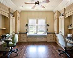 Stunning Home Office Design for Two People Design Ideas : Charming Traditional Home Office Design For Two People With Charming Bay Window Elegant Table Lamp Ceiling Blade Fan Wooden Drawers And Cabinets Modern Office Chair