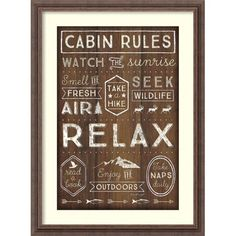 Complete your lodge decor by showcasing the Amanti Art Framed Print - Cabin Rules by Jennifer Pugh . This typographic print is framed to complement the. Metal Wall Art, Framed Wall Art, Framed Art Prints, Mirrored Picture Frames, Old World Maps, Wood Molding, Spring Painting, Lodge Decor, Typographic Design
