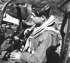 Antoine de St. Exupery, in the cockpit of an American P-38 Lightning, in the days before his disappearance during a recon mission on behalf of the Free French Air Force in July, 1944.