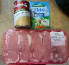 Crockpot Ranch Pork chops Serves: 4-6  Ingredients •Pork chops  •1 Ranch Seasoning Dry Mix Packet •1 can Cream of Chicken plus 1 can of water Instructions 1.Combine all ingredients in crockpot and mix well. 2.Cook on low 4-6 hours.