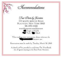 Accommodation Information For Wedding Invites Google Search - Wedding invitation templates: hotel accommodations template for wedding invitations