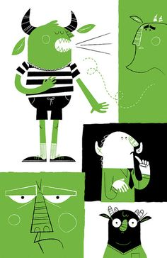 The Burp | Lydia Nichols | Cool green, black and white monsters