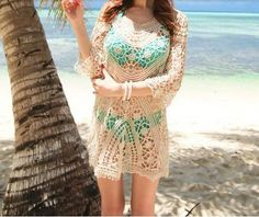 Crochet Beach Cover up Bathing Suits Lace Bikini Cover ups Women Swimwear Beach Tunic Dresses saida de praia