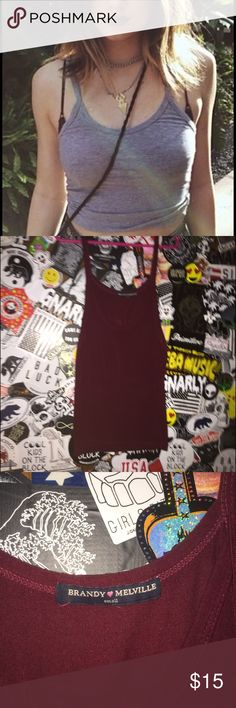 Brandy❤️Melville | James tee BURGUNDY As seen on Kylie Jenner, Comes in BURGUNDY not grey!!!!! | no trades, no offline sites. Brandy Melville Tops Tank Tops