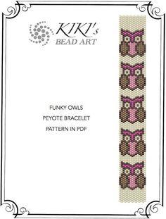 Peyote Pattern for bracelet - Funky owls peyote bracelet cuff pattern in PDF direct download
