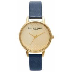 Olivia Burton Modern Vintage Watch - Gold & Navy ($79) ❤ liked on Polyvore featuring jewelry, watches, accessories, bracelets, bijoux, vintage style jewelry, gold strap watches, navy watches, yellow gold jewelry and gold jewelry