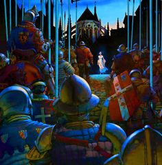 Joan of Arc standing before the French army, Hundred Years War