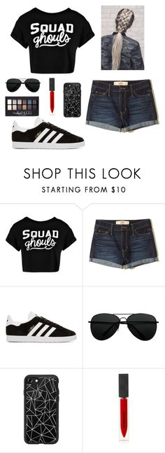 """""""#SquadGhouls"""" by helplessthing ❤ liked on Polyvore featuring Boohoo, Hollister Co., adidas Originals, Casetify, Burberry and Maybelline"""