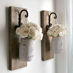 Rustic Sconces-Rustic Wall Decor-Mason Jars Sconce-Farmhouse Sconce-Rustic Home Decor-Wall Hanging Decor-Hanging Mason Jars-Farmhouse Decor