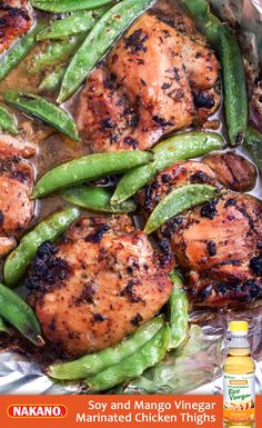 A meal that's 5 minutes to prep and cooks in one dish? Yes, please! Boneless chicken thighs are marinated in a scrumptious sauce of Nakano Mango Seasoned Rice Vinegar, cilantro, garlic and soy sauce. Baked in the oven and then tossed with sugar snap peas and broiled until tender, it's a fast, easy and versatile dinner that's sure to become a family favorite.