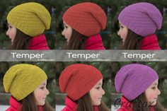 "Child's slouchy beanie hat - ""Temper"". Free knitting pattern for beginners. Let me offer you this simple, but at the same time lovely and stylish hat. Such a model will suit both a young girl, and a grown-up woman."