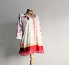 Image of Boho Tunic Plus Size Shirt Red Lace Loose Ftting Bohemian Top Upcycled Clothing 1X