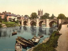 "aenglaland: "" Herefordshire, Hereford Cathedral and Bridge in the 1890's """
